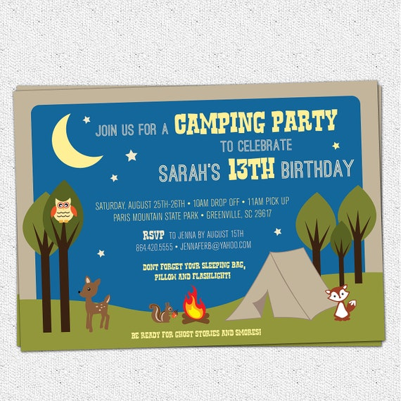 Camping Party Invitation, Birthday, Summer, Woodland Animals, Camp, Night Time, Boy or Girl, DIY Digital File