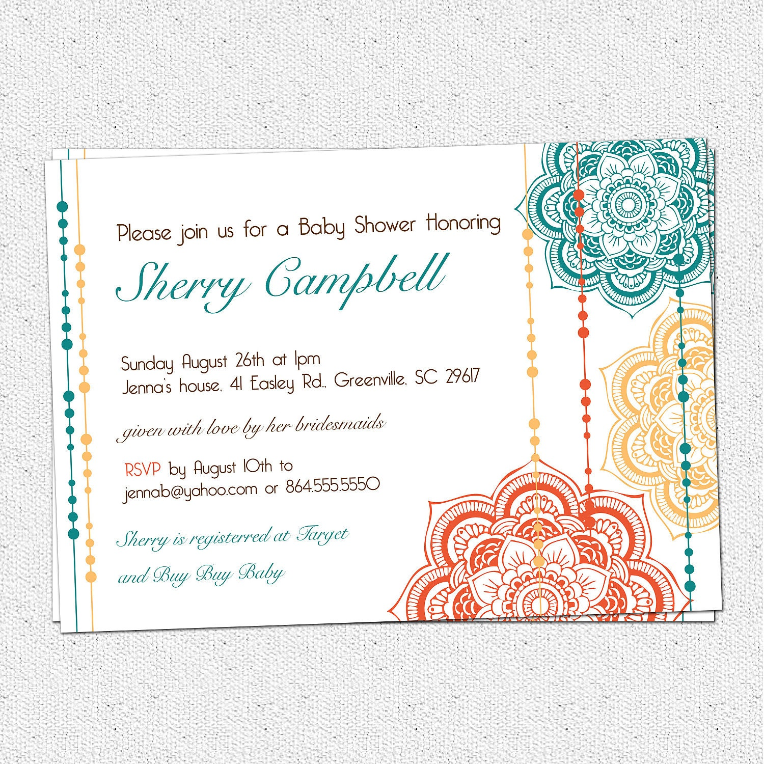 printable moroccan baby shower invitation floral by ohcreativeone, Baby shower