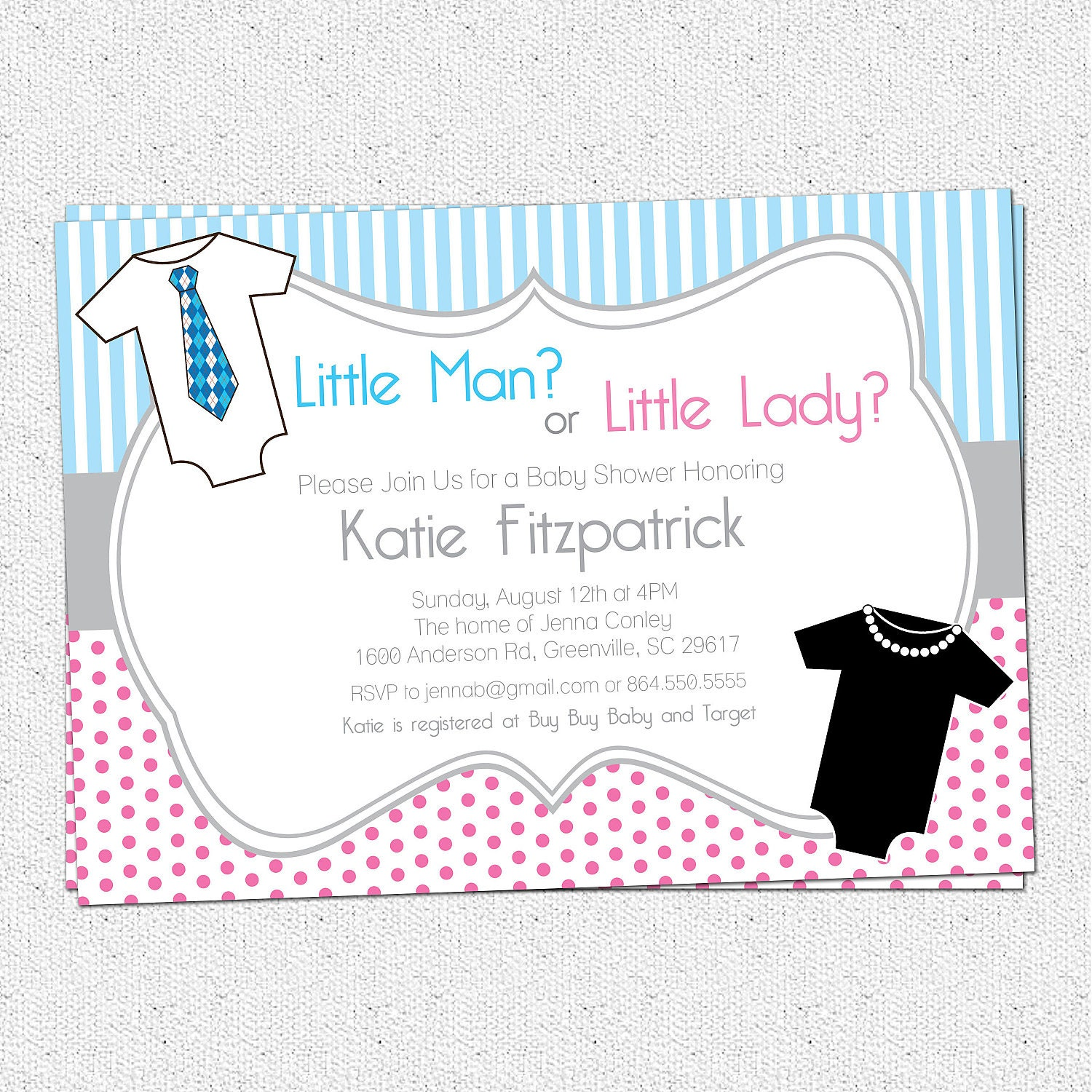 Gender Neutral Reveal Baby Shower Invitation Printable