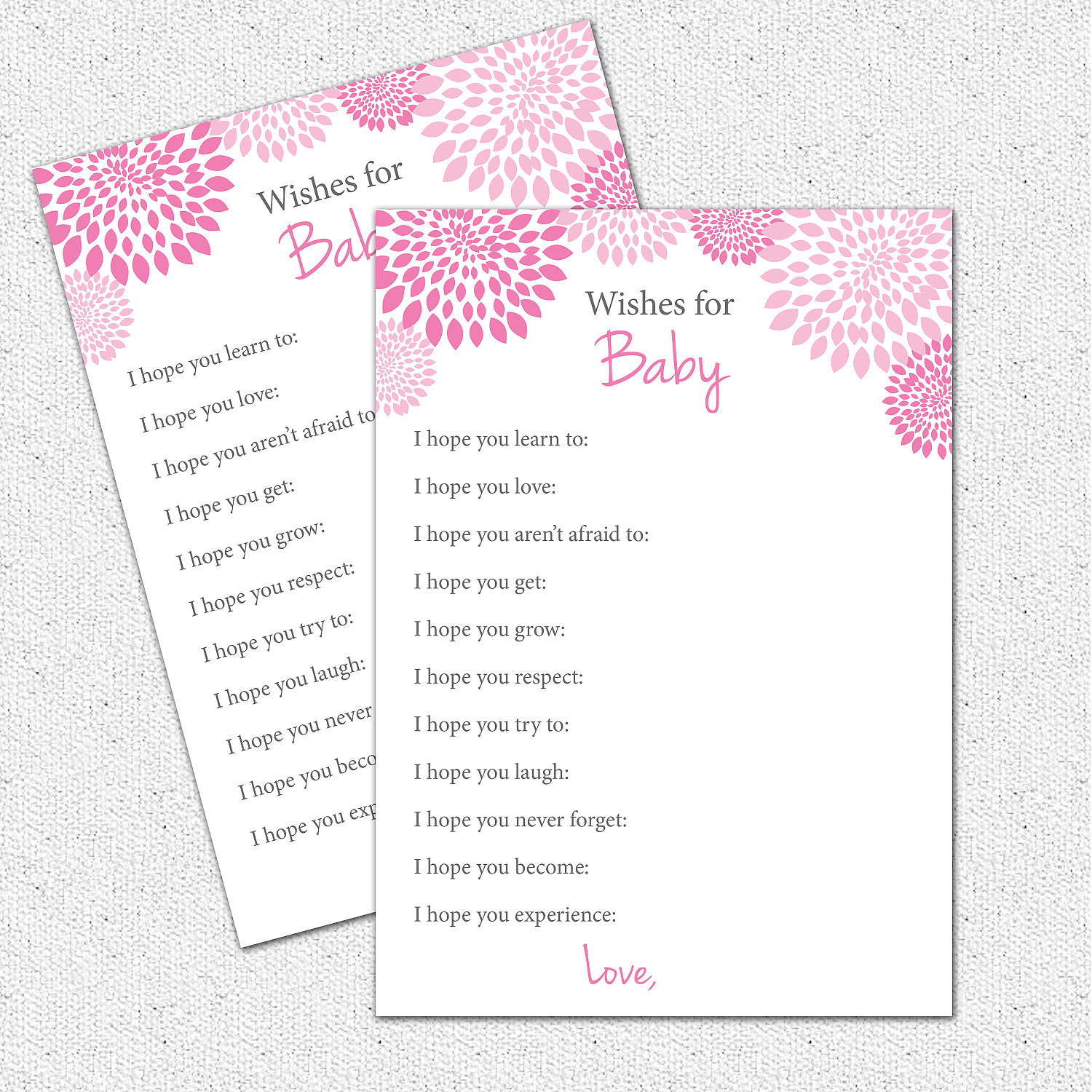 Well Wishes I hope You Baby Shower Game Printable Girl Hot