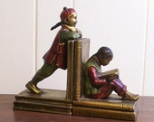 Vintage Bookends Asian Children Chalkware