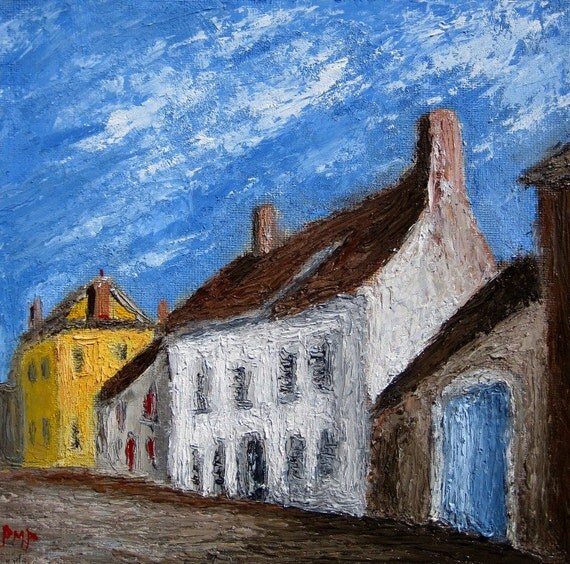 Small French Town Original Oil 8x8 Painting by Paul Piasecki
