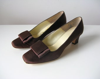 vintage 1960s brown satin party shoes