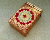 Made In Italy Hinge Top Case (Cigarette) Gold and Red w Hints of Turquoise
