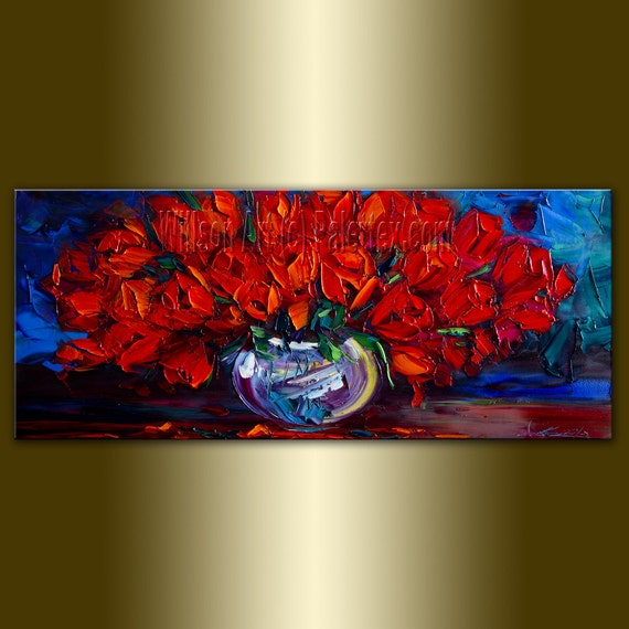 Original Red Rose Roses Floral Painting Oil on Canvas Textured Palette Knife Contemporary Modern Art 12X24 by Willson Lau