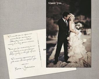 """Vintage Wedding Thank You Cards / Wedding thank yous / Wedding Thank You Cards / Thank you Cards / Thank you postcard - the """"Gabriella"""""""