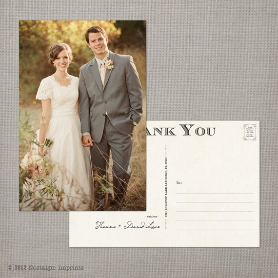 "Wedding Thank You Cards, Thank You Note Cards, Vintage cards, Thank you card, Vintage Thank You Postcards - the ""Hanna"""