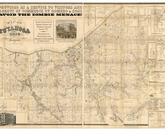 Digital Print, Cleveland, Zombie Art, Vintage Map, Cleveland map, Alternate Histories, Cleveland, zombie apocalypse, Geekery, Zombies