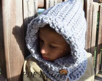 Crochet PATTERN Hooded wraper Toddler Kids Adult nackwarmer cowl scarf infinity. pdf(028)