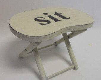 SALE Tiny Handpainted Vintage Wooden Stool