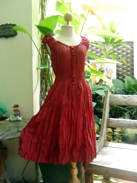 Princess Cotton Short Dress - Dark Red