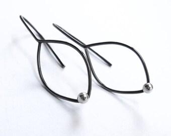 Oxidized Sterling Silver leaf earrings modern simple design for everyday wear