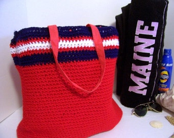 Recycled Offical Red Sox Lined Beach Bag Hand Crochet by Kams-store.com