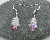 Pink Swarovski Crystal Christmas Tree Earrings