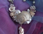"Sea Shell Necklace, Titled ""The SEEKER, BROKEN BEAUTY"", a collage necklace created with shells found on Sanibel Island, Florida"