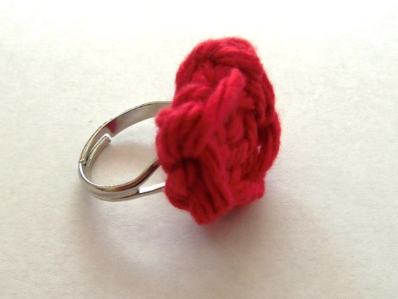 Red crocheted rose ring