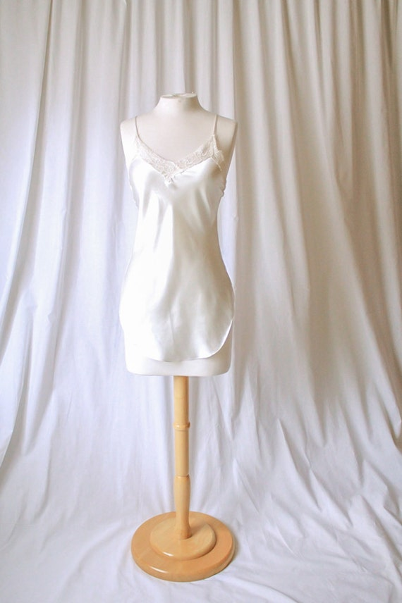 white satin and lace lingerie piece size small