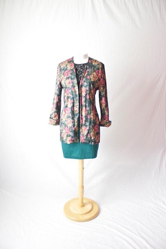 womens long floral sports jacket blazer size 10