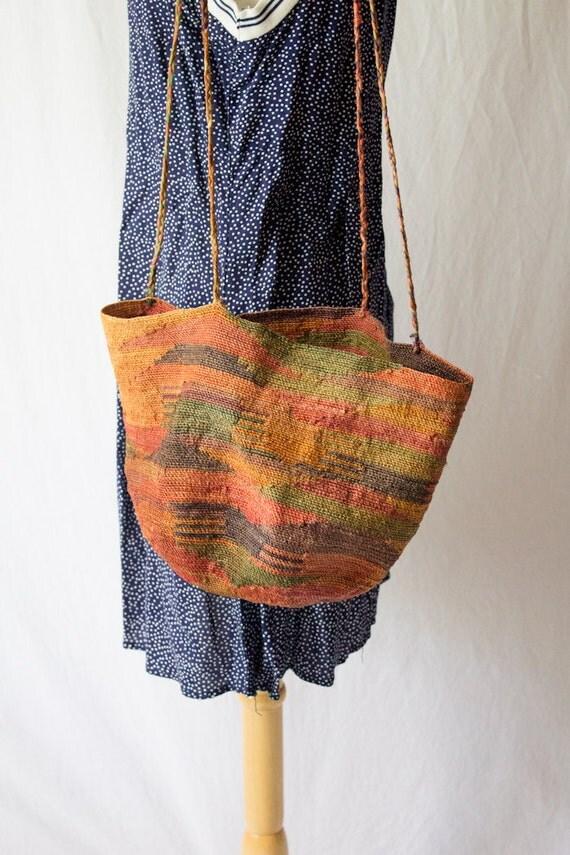 woven straw geometric multi color bag