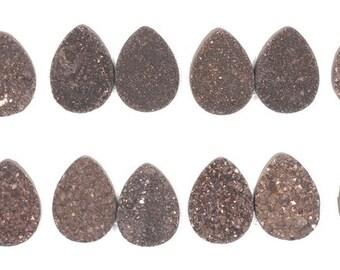 2 Pieces Dark Brown Teardrop Calibrated Druzy Agate Cabochon B31DR4386