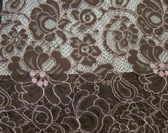 Chocloate Brown and Pink Chantilly Lace Fabric--One Yard
