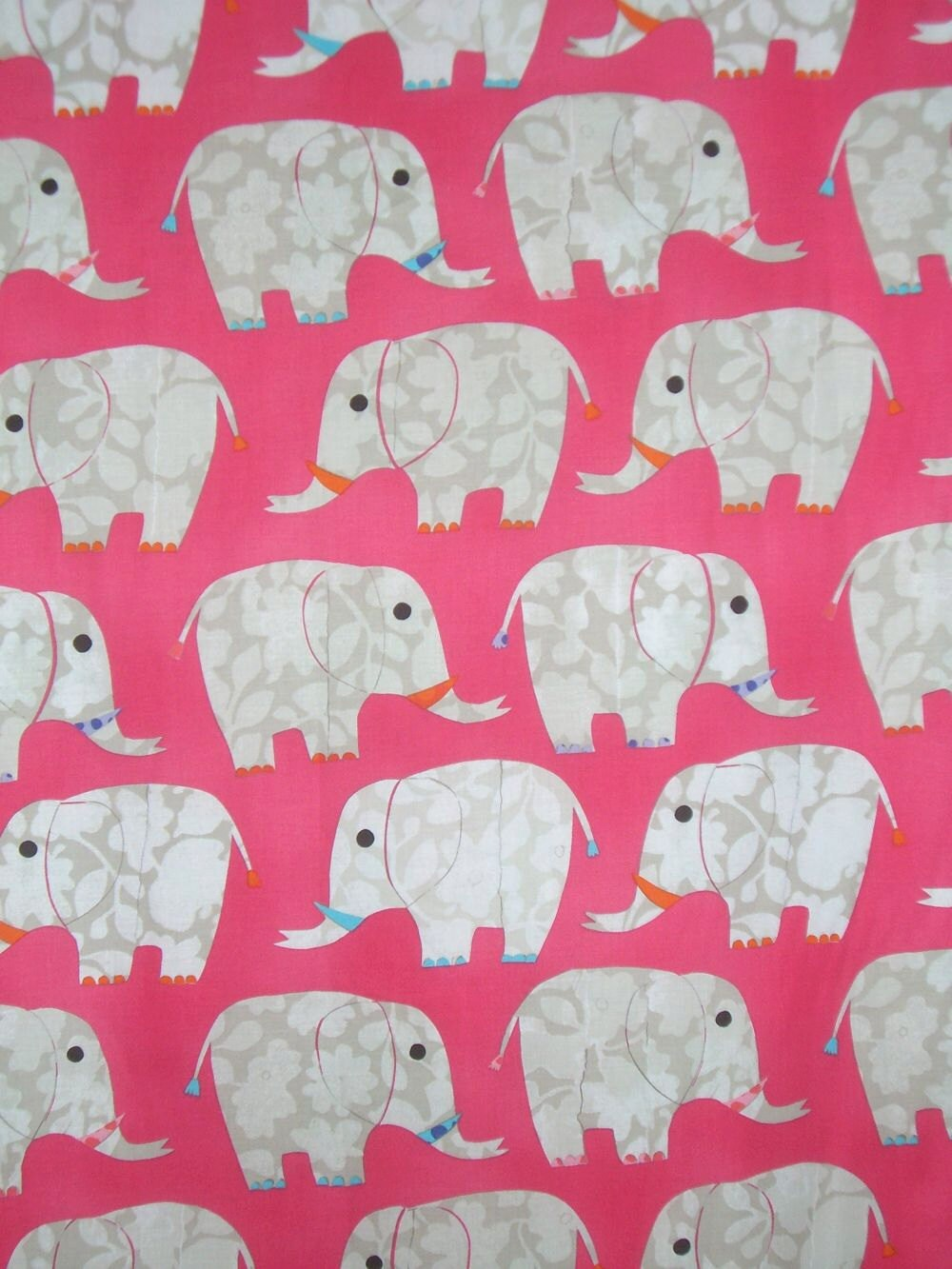 Pink elephant print pure cotton fabric from dear stellaone for Elephant fabric