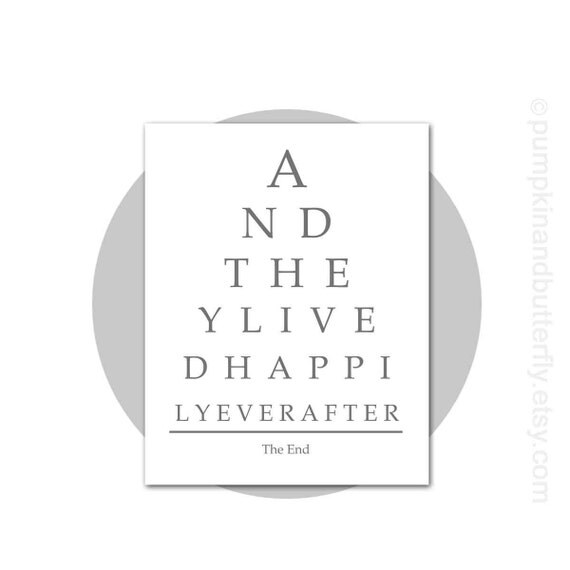 Wedding Decor, Wedding Signage, Eye Chart, 8x10 Print, And They Lived Happily Ever After, Gray Grey, Wedding, Wedding Gift, Bride and Groom