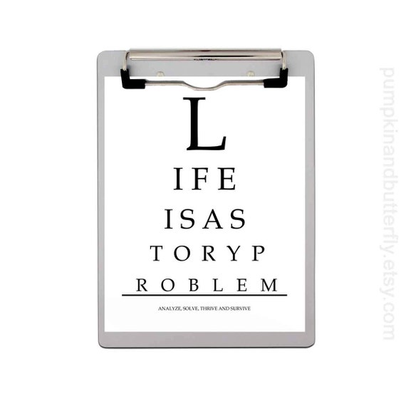 Eye Chart Print, Inspirational Quote, Geometry, Geekery, Math, Back To School, School, Life Is A Story Problem