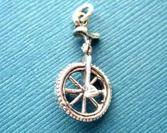Sterling Silver Unicycle  Pendant or Charm