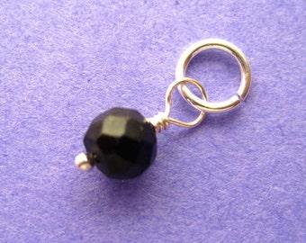 Faceted Black Spinel Gemstone Dangle Charm