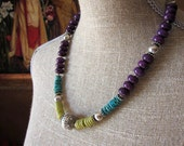 Purple Sugilite Turquoise Serpentine Necklace