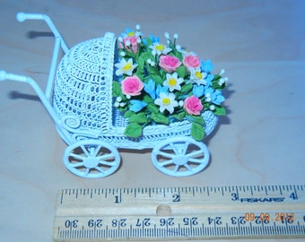 Bouquet  of miniature Clay  flowers in Stroller for baby