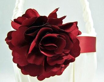 Crimson and Ivory Flower Girl Basket