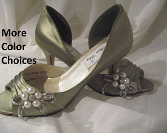 Wedding Shoes Sage Green Bridal Shoes Pearl and Crystal Bow -100 Additional Colors To Pick From
