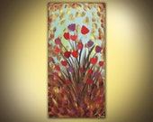 Original acrylic flower painting on canvas modern abstract contemporary art 10 x 20