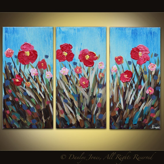 Original abstract painting Poppy Field acrylic on canvas 3 panel large Great Gift SALE