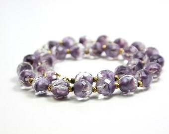 Hattie Carnegie lilac givre art glass necklace and earrings.  Stunning, designer vintage.