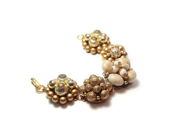 Recycled jewelry.  Vintage earring bracelet . Stunning and one of a kind. Champagne. Free international shipping