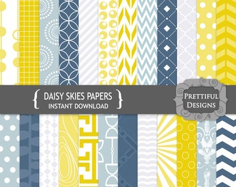 Digital Paper Pack Steel Blue and Mustard Yellow CU Ok - Daisy Skies