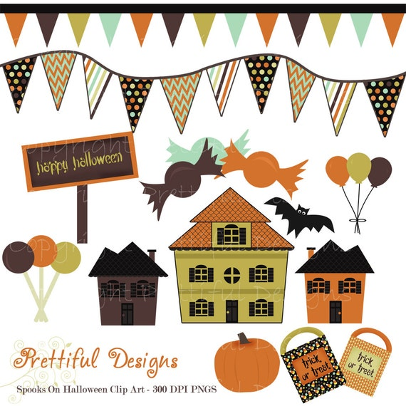 40% Off SALE Halloween Clip Art Haunted House Banner Pumpkin Trick or Treat Bag Spooks On Set 1 (380)