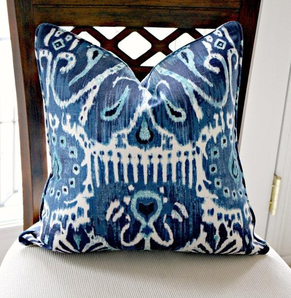 Duralee Cerva in Navy Decorative Ikat Pillow Cover, Decorative Pillow Cover, Accent Pillow, Throw Pillow, toss pillow