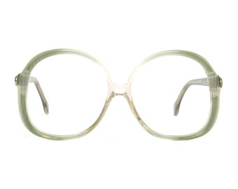 Big Green Vintage Designer Glasses : OWP 80s transparent vintage frame eyeglasses