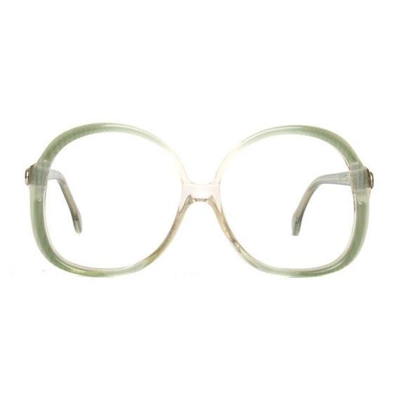 Big Green Vintage Designer Glasses : OWP 80s transparent vintage frame eyeglasses