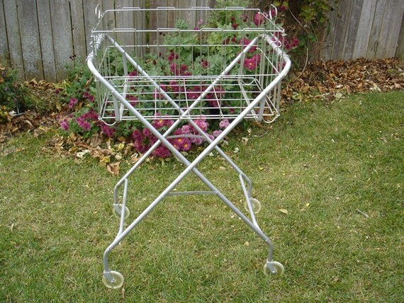 Vintage Silver Metal Rolling Laundry Cart Basket