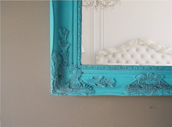 Ornate Turquoise Framed Mirror, Baroque