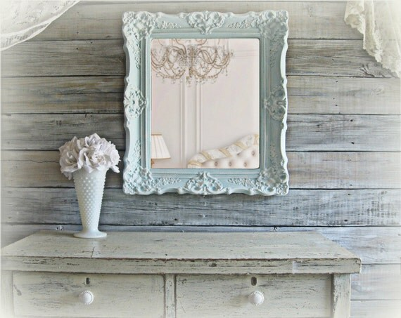 "Beach Cottage Blue, Shabby Chic Miror, Ornate Frame, 25"" x 22"""