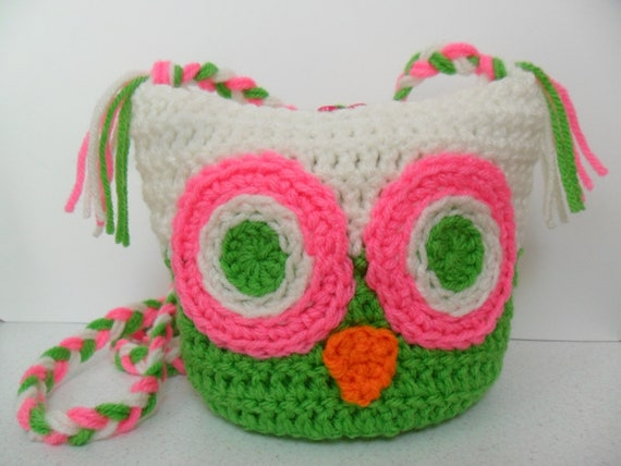Owl Shoulder Bag - Spring Green Pretty n Pink and Soft White