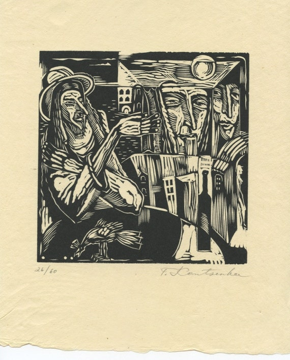 Dreamer, Original Linocut on Oriental Paper, Figurative, Wine, Hat, Bird, Cityscape, Moonlight