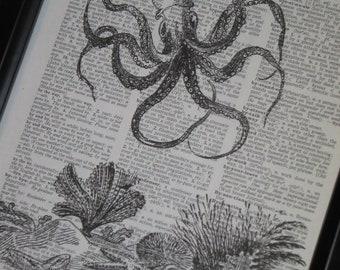 BOGO SALE Sea Life Art Print Ocean Art Print Dictionary Art Print Octopus Sea Floor Art Print Wall Art A HHP Original Design Print 6