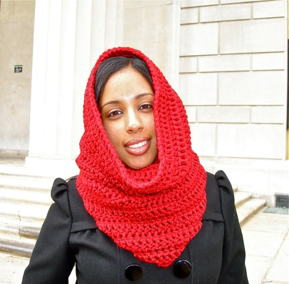 Free Crochet Pattern For Hooded Scarf With Ears : Crochet Neckwarmer Cowl Hooded Scarf Red by BrendaLizBoutique